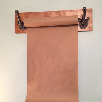 Kraft Paper Dispenser; Wall Mount; Reclaimed Wood; Industrial Pipe