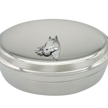 Textured Horse Head Pendant Oval Trinket Jewelry Box