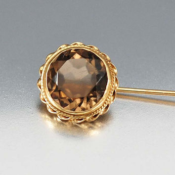 Smoky Topaz 14K Gold Art Deco Stick Pin Brooch, Gold Stick Pin, Topaz Lapel Pin, Jabot Pin, Antique Jewelry Vintage Art Deco Jewelry