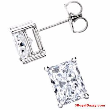 18k Layered Sterling Silver 1ct CZ Emerald / Rectangle Cut Solitaire Prong Stud