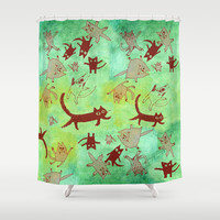 levitating kitties Shower Curtain by Marianna Tankelevich
