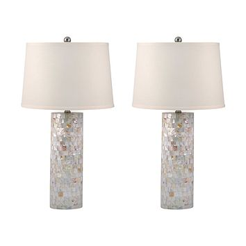 Mother of Pearl Cylinder Table Lamp