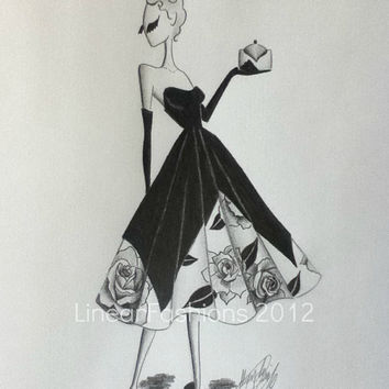 Fashion Illustration Art 1950s Roses Party Dress by LinearFashions