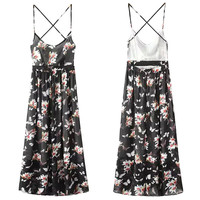Black Floral Print Strappy Backless Midi Dress