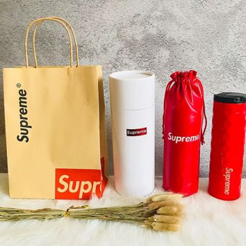 Supreme fashion portable drop-proof mug women and men rhombus glass protective case thermos cup three suit