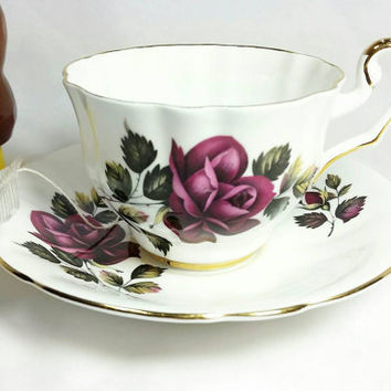 Vintage Royal Eton Staffordshire England Teacup and Saucer/Fine Bone China Teacup and Saucer/Burgandy Rose Bone China Teacup