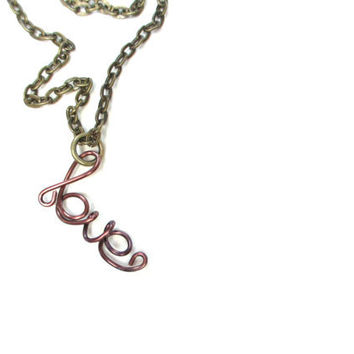 Plum Love Necklace Wire Art Dainty Text Word Jewelry Bronze Chain