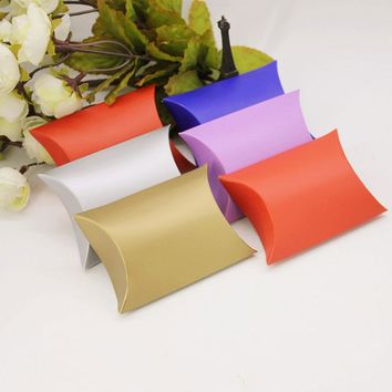 100pcs Pillow Style Favor Gift Box Kraft Paper Candy Boxes Paper Gift Box Bag Wedding Party Supply Accessories