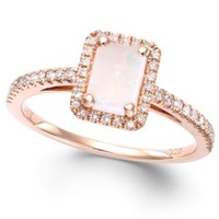 Opal (1/2 ct. t.w.) and Diamond (1/5 ct. t.w.) Ring in 14k Rose Gold | macys.com