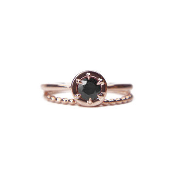 Rose gold black diamond engagement ring set of 2, 14k rose gold, eco friendly, vintage inspired stacking wedding bands