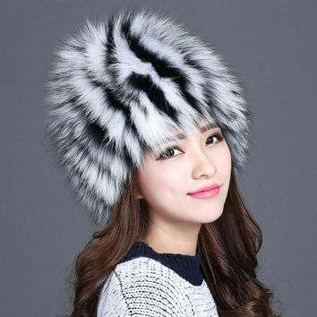 DCCKJG2 Hot sale winter fur hat for women design real fox fur hats fluffy warm ear knitted 2016 new fashionable famale girls beanies