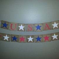 Patriotic Stars and USA Banners , 4th of July Banner,USA Banner ,USA Bunting,Red White and Blue Banner,4th of July Decor, Patriotic Bunting