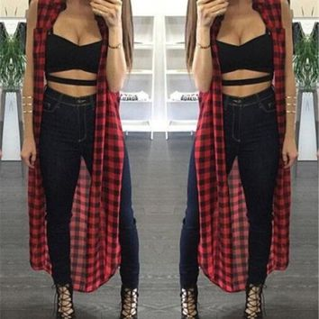 New Fashion Women Plaid Cardigan Casual Robe Cover Up Sleeveless Red And Black Line England Plaid Casual Tops
