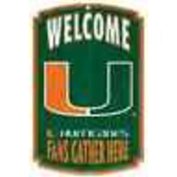 "MIAMI HURRICANES WELCOME FANS GATHER HERE WOOD SIGN 11""X17'' BRAND NEW WINCRAFT"