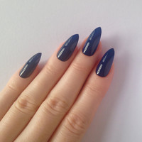 Dark blue stiletto nails, Nail designs, Nail art, Nails, Stiletto nails, Acrylic nails, Pointy nails, Fake nails, False nails