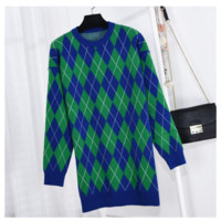 """Gucci"" Women Fashion Geometric Rhombus Multicolor Long Sleeve Middle Long Section Knit Sweater Dress"