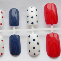 Red, White, and Blue Nautical Fake Nails - False, Artificial, Acrylic, Press-On