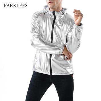 Trendy Shiny Silver Metallic Jacket Men Party Dance Night Club Mens Hip Hop Jackets and Coats Slim Hooded Streetwear Jaqueta Masculina AT_94_13