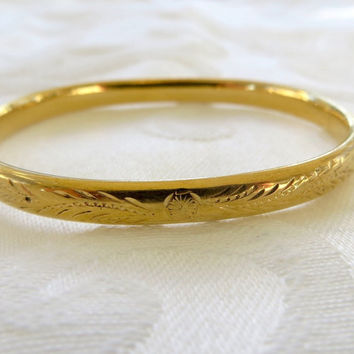 Baby Bangle Bracelet, Vintage Gold Filled, Etched Baby Bracelet, Christening, New Baby Gift