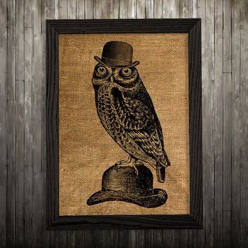 Owl decor Bird poster Animal print Burlap print BLP135