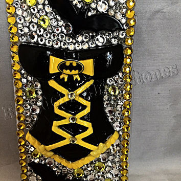 Batman phone case, batgirl phone case, iphone 6 phone case, batman bling, ransdells rhinestones phone case, phone case with batman