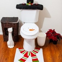 4 Pcs Christmas Santa Bathroom Toilet Seat Cover and Rug Set - White Snowman (Color: White)