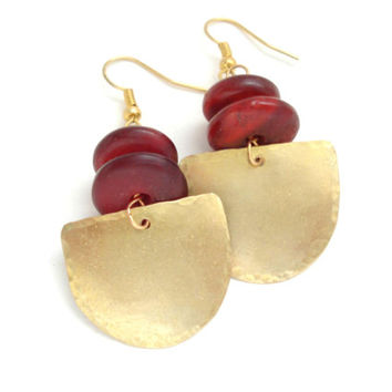 Unique Handmade Gold Earrings-Hand Hammered Gold Bronze Earrings-Nepal Prayer Red Wine Resin Beads-Contemporary Earrings