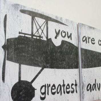 You Are Our Greatest Adventure Wood Sign Boys Nursery WallArt Nursery Decor Vintage Nursery Vintage Airplane Sign Baby Gift Above Crib Decor