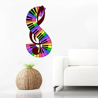Colorful Wall Decals Piano Keys Note Musical Notes Waves Music Recording Studio Full Color Treble Clef Floral Patterns Wall Vinyl Decal Stickers Bedroom Murals