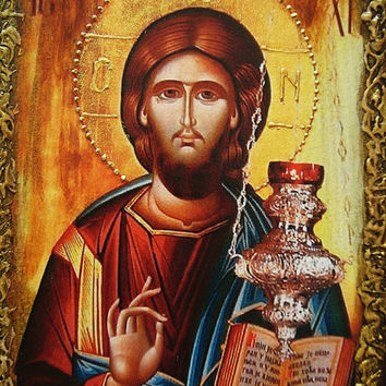 Jesus Christ icon, Religious Art, Byzantine Art, Religious gift, Orthodox icon, Christian holiday, Wooden icon, New Home Gift, Messiah, God