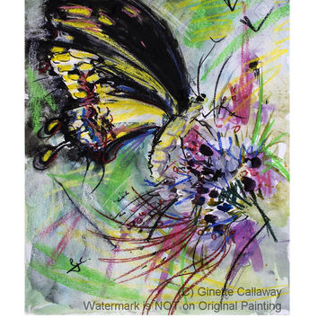 Black Butterfly Original Mixed Media 24 by 18 inch painting by Ginette