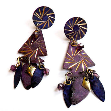 Vintage Stamped Metal Dangle Earrings Arrowhead Boho Purple Paint Mixed Media Beaded Pierced Post Chandelier