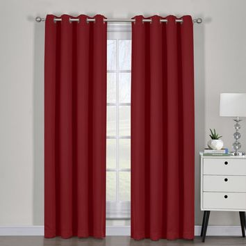 Red Ava Blackout Weave Curtain Panels With Tie Backs Pair (Two Panels )