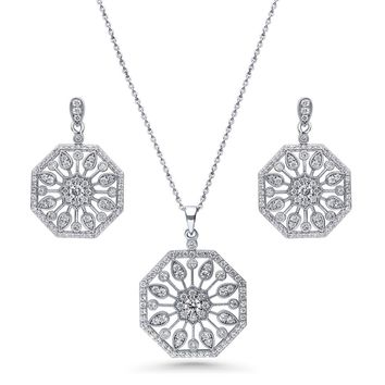 Sterling Silver Round CZ Art Deco Flower Halo Necklace and Earrings SetBe the first to write a reviewSKU# vs542-01