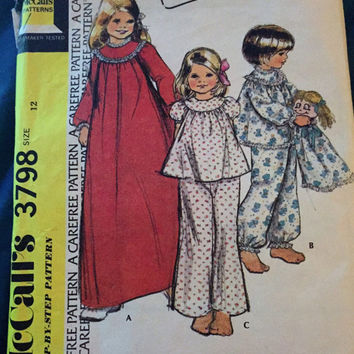 "Vintage McCall's Sewing Pattern 3798 for ""Childs and Girls Nightgown, Pajamas and Pajama Bag"" From 1973 / Size 12"