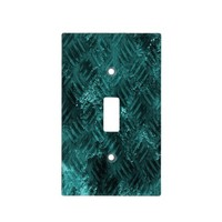 Turquoise Stamped Metal Effect Switch Plate Cover
