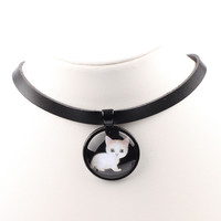 Cute Kitten Black Leather Choker Necklace for women cat glass cabochon necklaces girls fashion chocker jewelry