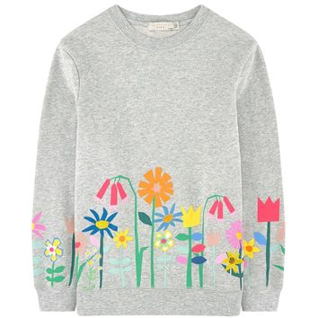 Stella McCartney Girls Grey Floral Printed Sweater