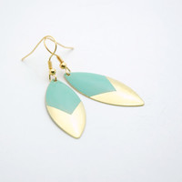 Minimalist Geometric Leaf Spike Earrings - Mint Green Hand Dyed Modern Brass Jewelry