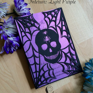 Skull in spider web Halloween party invitation spooky laser cut gatefold all hallows eve invite