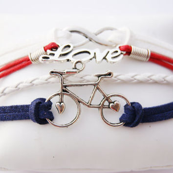 4 Strand Red White and Blue Infinity Love Bicycle Faux Leather Braid Cord Bracelet (Adjustable Sizing)