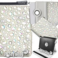Jersey Bling Ipad Mini AB/IRIDESCENT BLING! HUGE 3D Gems Rhinestones & Crystals PU Leather Folio w/Rotating Back Case Built in Stand & Stylus (AB/Iridescent Gems)