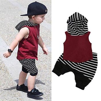 Hot Sale!2pcs Outfits Clothes Set,BeautyVan Fashion Cartoon Toddler Kids Baby Boy Hooded Vest Tops+Shorts Pants 2pcs Cute Outfits Clothes Set (12M, Red)