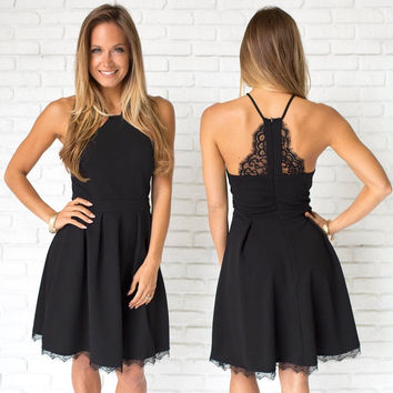 Luck Be A Lady Little Black Skater Dress