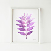 Purple leaf Wall decor print art, 8x10 print, Digital art PRINTABLE Nature art, Purple bedroom decor, Purple decor, Home decor wall print