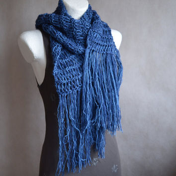 Unisex Scarf Blue Shades Loose Knit Scarf with extra long Fringes gift for her or him Gift under 40 FREE SHIPPING