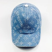 LV X Supreme Popular Women Men Jacquard Sunhat Embroidery Louis Vuitton Baseball Cap Hat Light Blue
