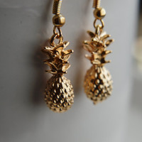 14kt Gold plated Pineapple Earrings - Hawaiian themed Miniature food jewelry