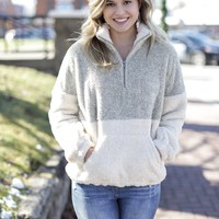 Two Tone Fuzzy Pullover, Taupe/Cream