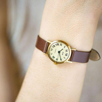 Women's watch gold plated vintage, classic lady watch Dawn, roman numerals women watch tiny, small lady watch gift, new luxury leather strap